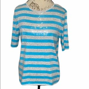 Belford Blue and Gray Striped Sequined Top